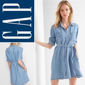 GAP Chambray Button Front Belted Shirt Dress NWT